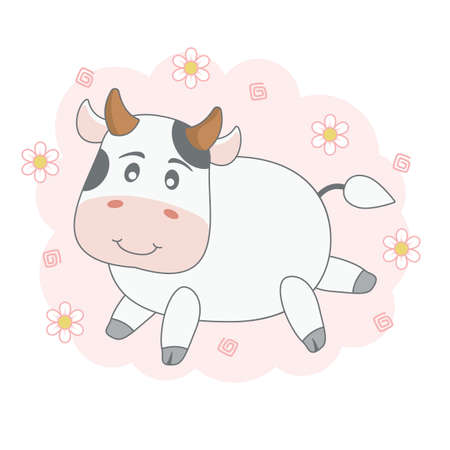 Adorable cute cartoon cow isolated on pink background with flowers.