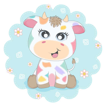 Cute cartoon colored cow smiling. Greeting card.