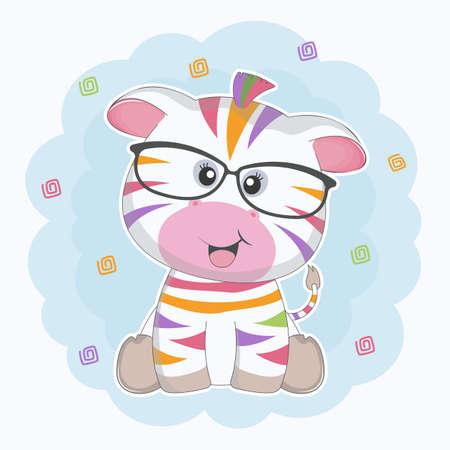Cute cartoon colored zebra in sunglasses smiling.