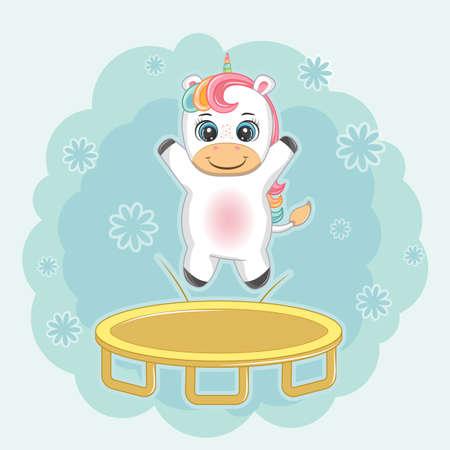 Cute happy cartoon unicorn jumping trampoline. Greeting card.