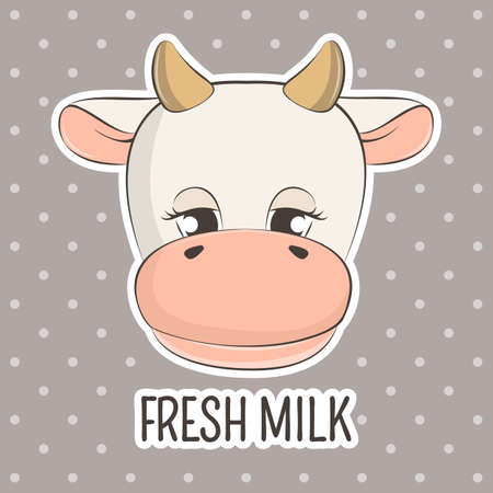 Adorable cute face cow baby and slogan fresh milk.