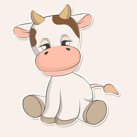 Adorable cute cartoon cow baby. Vector illustration. Vectores