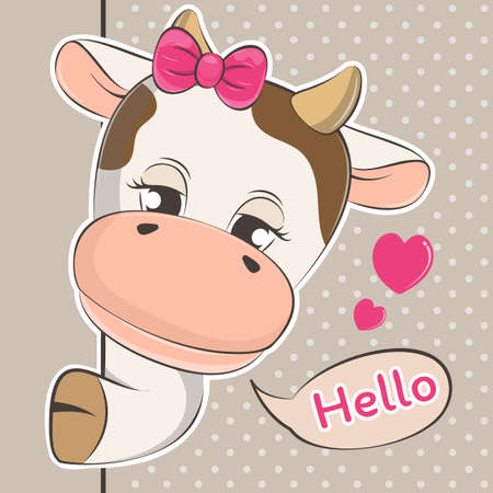 Cute cartoon peeping out cow baby and slogan hello. Vectores