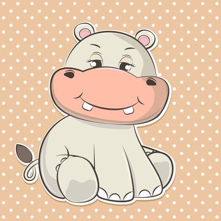 Adorable cute cartoon hippopotamus baby. Vector illustration.
