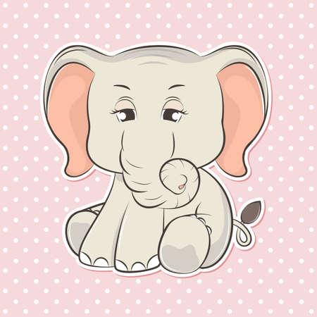 Adorable cute cartoon elephant baby. Vector illustration. Vectores