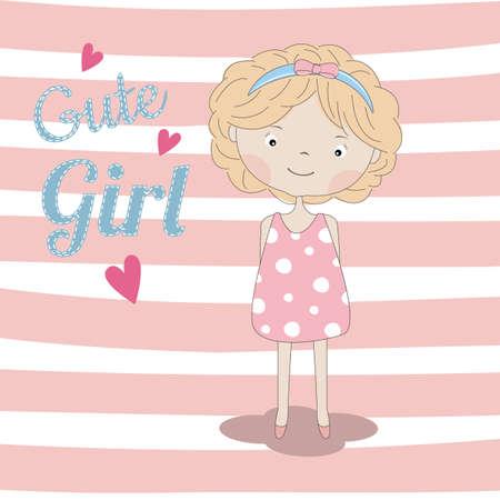 Adorable little cute girl baby. Vector illustration.