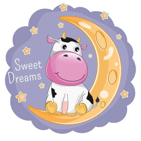 Cute cartoon cow is sitting on the moon.