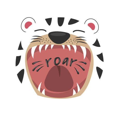 Cute cartoon tiger with open mouth roaring. Vectores