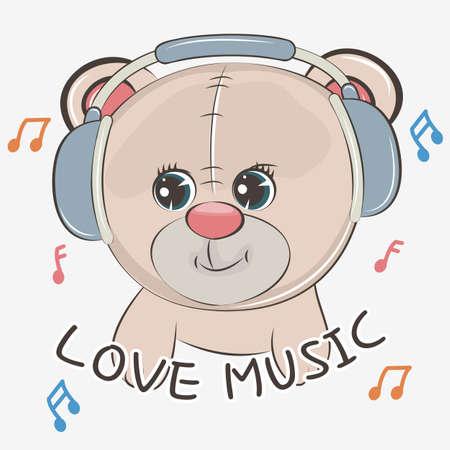 Cute cartoon bear baby wearing headphones and listening to music.