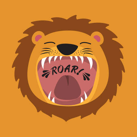 Cute cartoon lion with open mouth roaring. Vectores