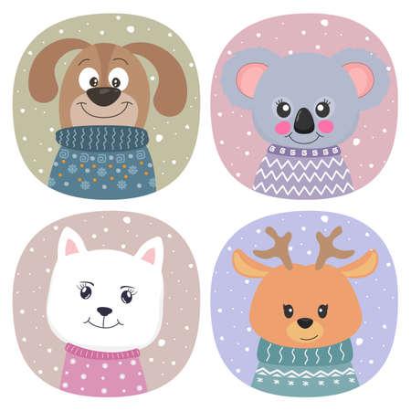 Cute cartoon animals dog,koala, cat and deer flat style.
