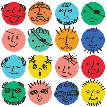 Round abstract colored comic faces with various emotions.