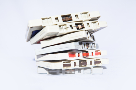 cassettes: A group of white vintage audio cassettes