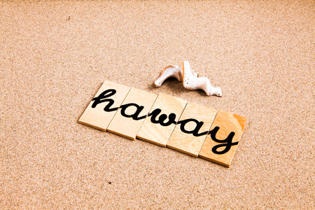 season s greeting: Words FORMED from small pieces of wood container containing a sun and beach tourist destination Haway