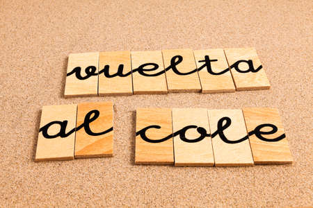 appoints: Words FORMED from small pieces of wood Back to School Stock Photo