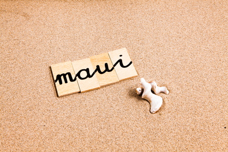 appoints: Words FORMED from small pieces of wood container container containing a sun and beach tourist destination Maui Stock Photo