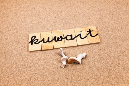 appoints: Words FORMED from small pieces of wood container containing a sun and beach tourist destination Kuwait