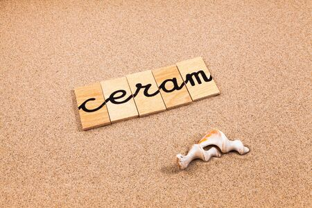 season s greeting: Words FORMED from small pieces of wood container containing different letters Ceram