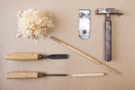 organised: Working tools top view wood craftsman brown background