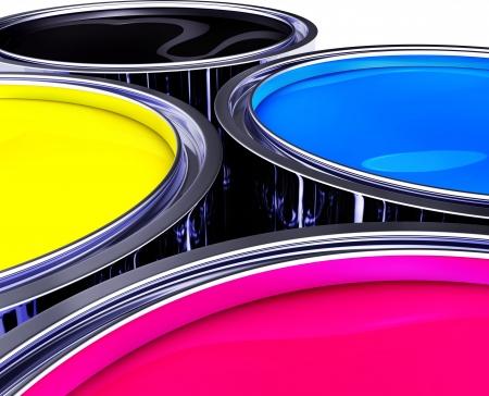 imprenta: ollas de pintura Foto de archivo