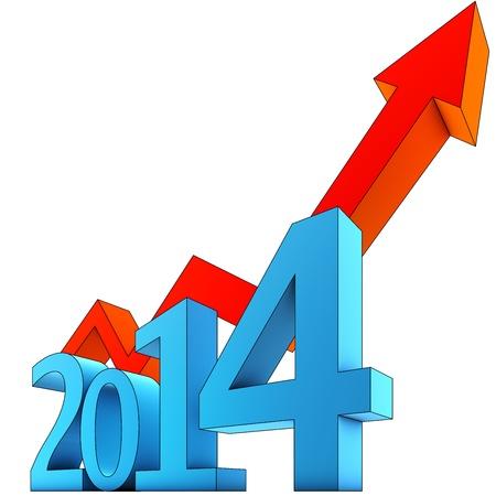 year increase: upturn 2014 Stock Photo