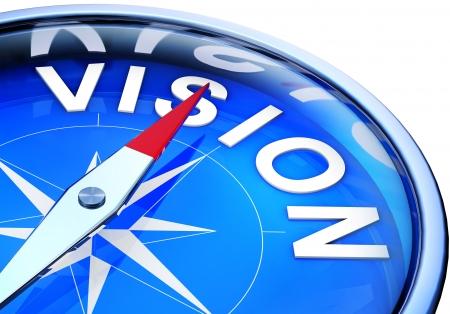 visie woord op kompas