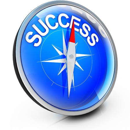 better chances: compass with success icon