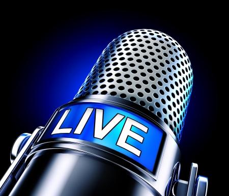microfono de radio: vivir Foto de archivo