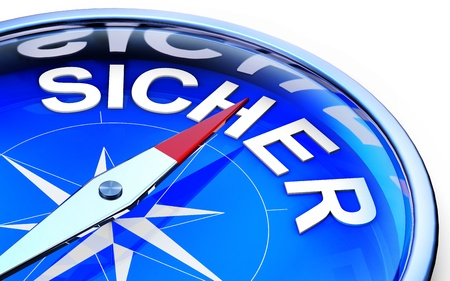 self harm: compass with german icon for security Stock Photo