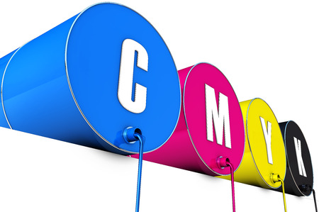 spilled paint: cmyk tons Stock Photo