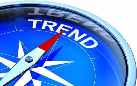 tendency: compass with a trend icon Stock Photo