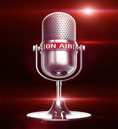 microfono de radio: en la ilustraci�n de aire Foto de archivo