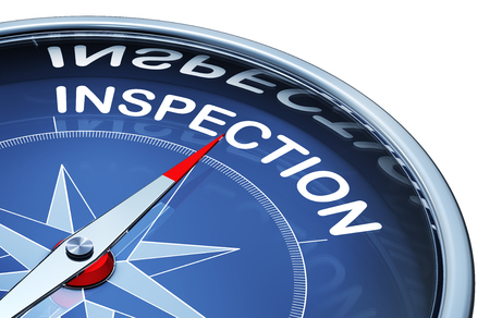 inspected: inspection word inside compass