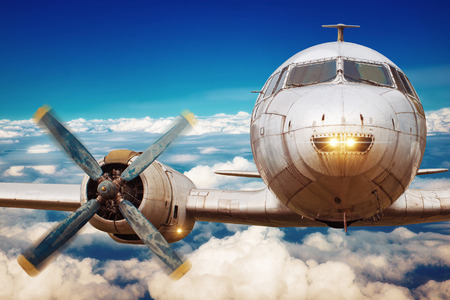 airscrew: picture of an old airplane in the sky