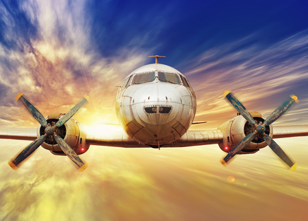 airscrew: airplane in the sunset