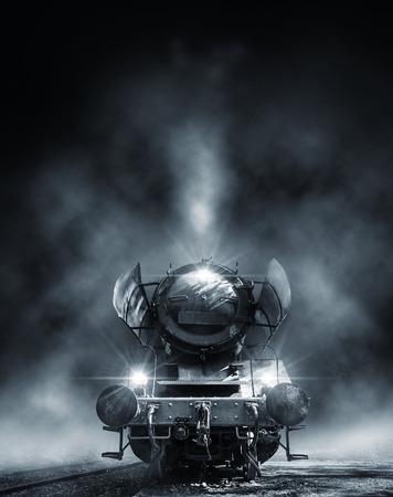 steam engine at night