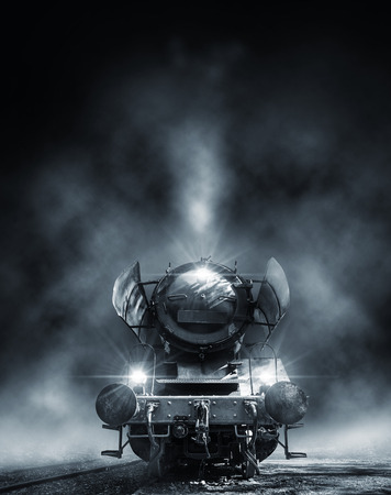 steam engine at night