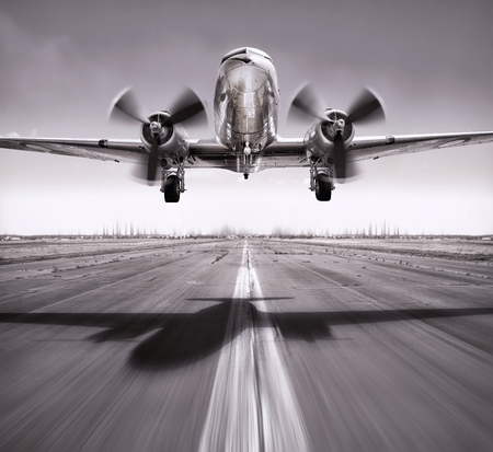 take off of an airplane vintage 스톡 콘텐츠