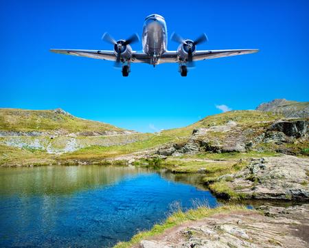 tarpaulin: airplane over a lake