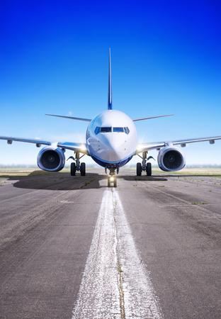 Vliegtuig in afwachting van opstijgen