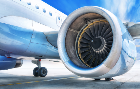 Jet engine against a blue sky