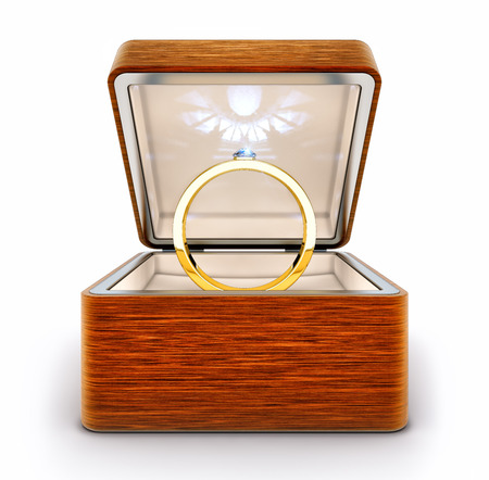 3D rendering of a golden ring with a gem in a box