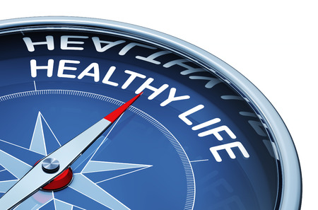 3D rendering of a compass with the words healthy life Stock Photo