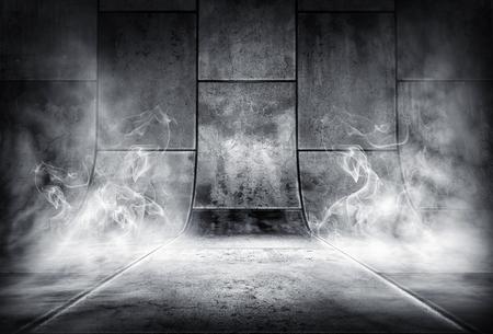煙のようなコンクリート背景の 3 d イラストレーション
