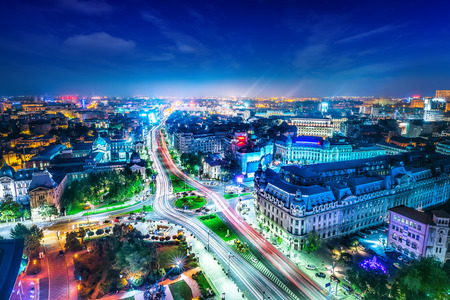 the skyline of bucharest at night Stock Photo