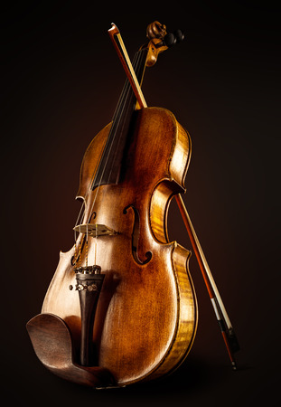 violin and a bow Stock Photo