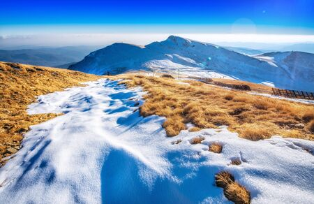 panoramic view at winter mountains