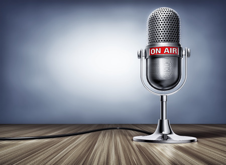 3D rendering of a microphone with a on air sign