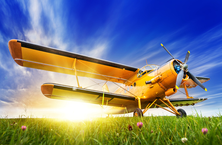 Historic biplane on a meadow against a sunset Stockfoto