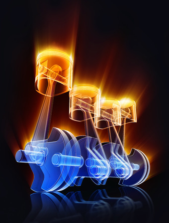 3D rendering of an car engine Stockfoto